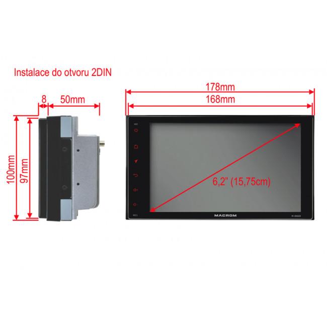 MACROM M-AN600 autorádio s 6,2'' displayom a Android systémom