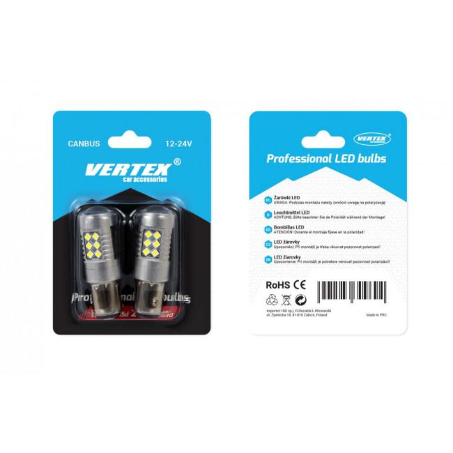 LED žiarovka ( Dvojvláknová ) VERTEX CANBUS 24SMD 3030 1157 (P21W/5W) White 12V/24V